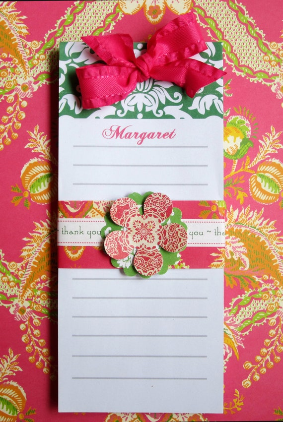 Green Damask Note Pad Personalized