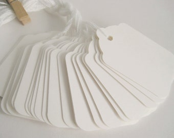 100 WHITE Strung Hang Tag, Gift Tag, Price Tag Die cuts punches cardstock 2.25X1.5 inch -Scrapbook, cards