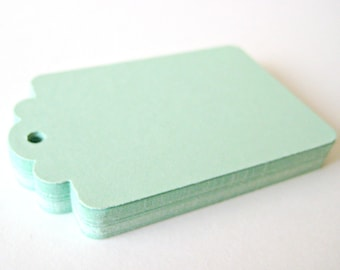 50 MINT GREEN Hang Tag, Gift Tag, Price Tag Die cuts punches cardstock 2.25X1.5 inch -Scrapbook, cards