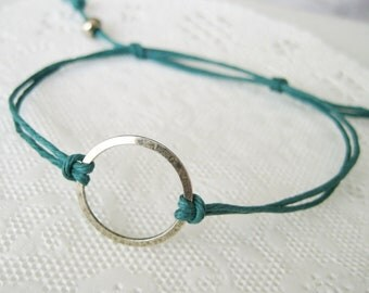 Karma Circle eternity infinity Unity Bracelet - Midnight Green