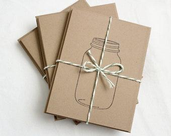 Mason Jar Hand-made Stationary Cards (set of 4) Valentine's Day