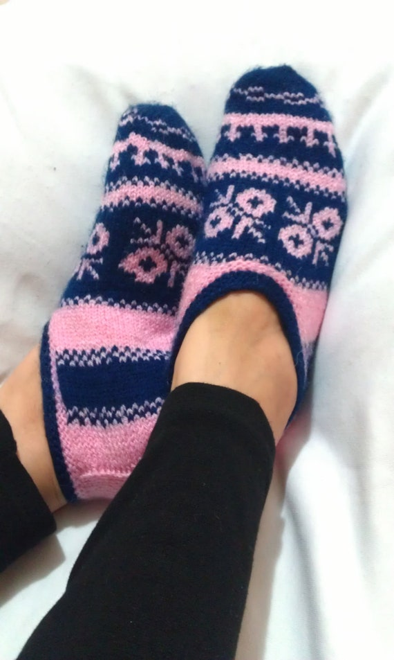 25% Off Sale - Hand Knitting Wool Home Slippers Dark Blue - Pink Flowers