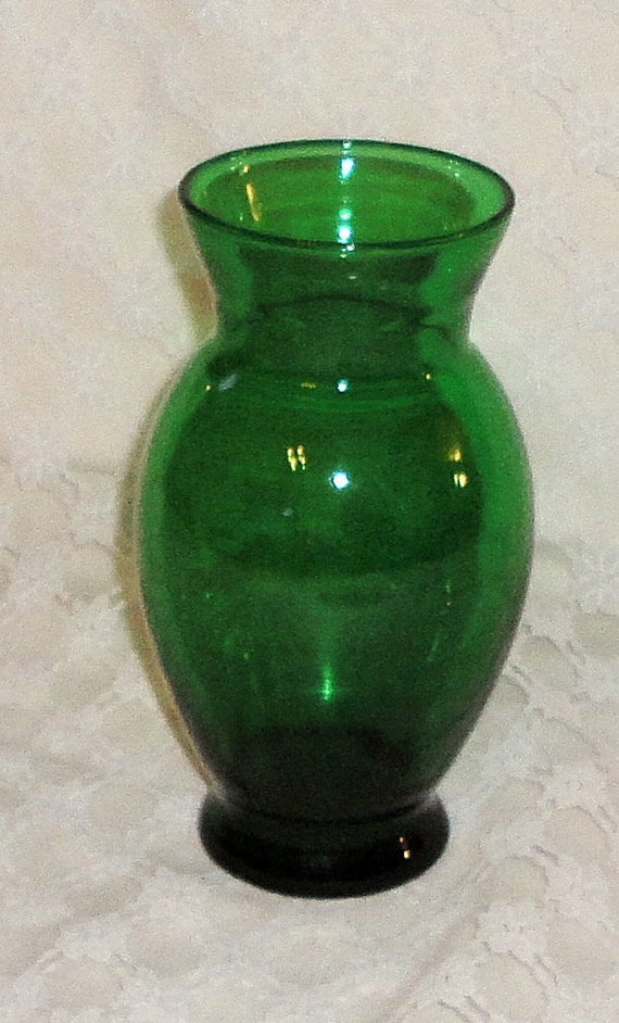 Antique Small Green Depression Glass Vase By