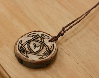 Middle Earth Medallion wood pendant necklace