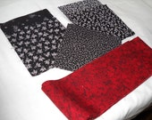 Quilt Kit Pre-Cut Table Topper Red and Black  with Borders   by  ThriftyFabricsETC