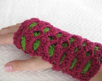 Crochet Fingerless Gloves Reversible Shells