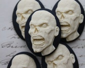 Zombie Monster Creepy Cameo Cabs - 5 pieces  -  Gothic Morbid Spooky Unset CAMEO