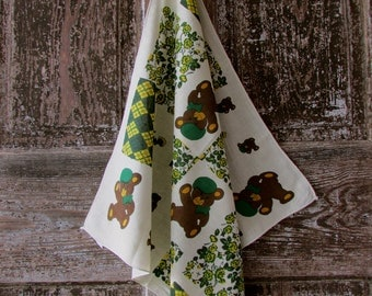Vintage BANDANA fashion bears flowers green and yellow