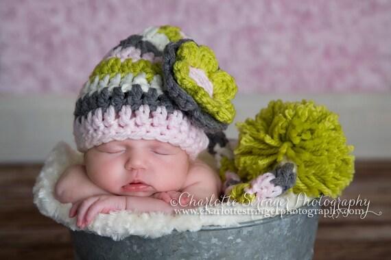 Elf, Hat, Long Tail, Pompom,Newborn Photo Prop, Pompom, Pink, Green,Gray, Cream, Ready to Ship