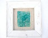 Turquoise humming bird framed tile green turquoise crackle glaze blushes of pink vintage linen reclaimed wood frame