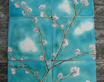 6 cherry blossom ceramic tiles pink turquoise dreamy white clouds kitchen bathroom MADE TO ORDER