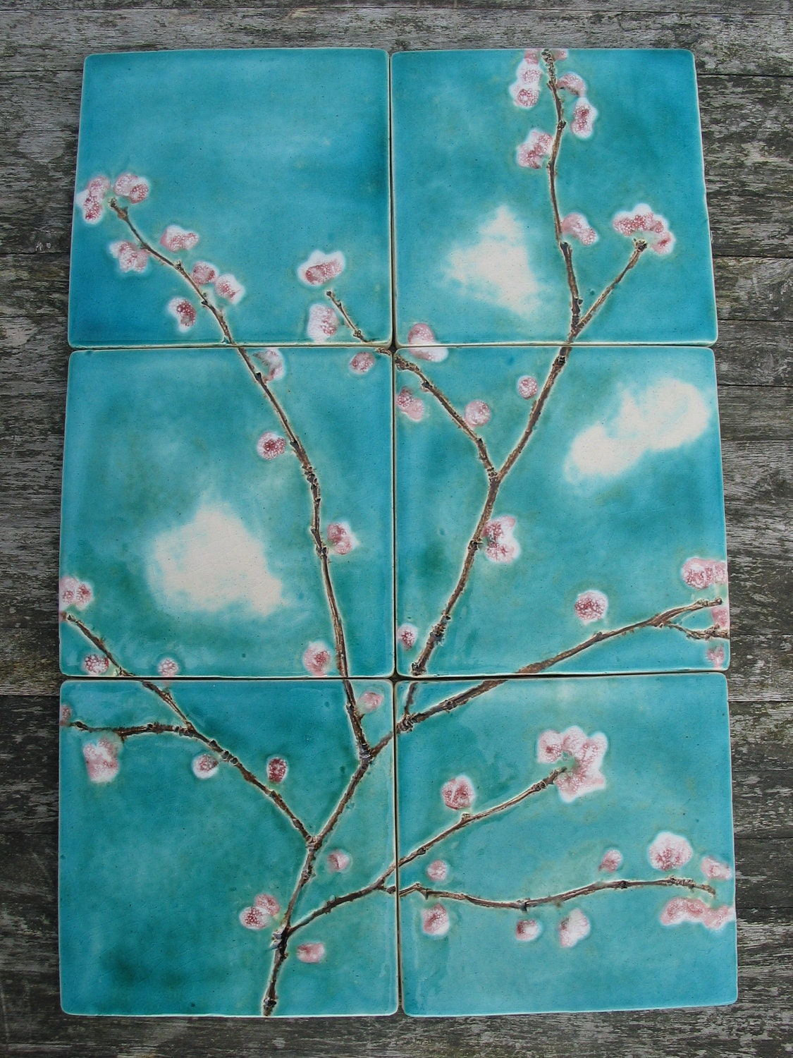 6 cherry blossom ceramic tiles pink turquoise dreamy white - Turquoise bathroom floor tiles ...