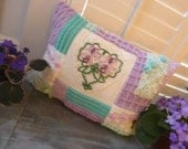 Sweet Cottage Chenille & Tatted Heart  Pillow -Handmade with all  Vintage Materials