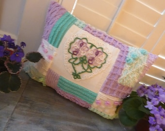 SALE---Sweet Cottage Chenille & Tatted Heart  Pillow -Handmade with all  Vintage Materials
