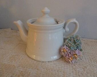 Sweet Antique German Tea Pot  - Creamy White Ceramic Vintage