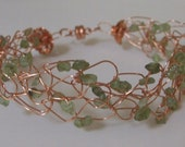Light Green Peridot and Copper Wire Crochet Bracelet