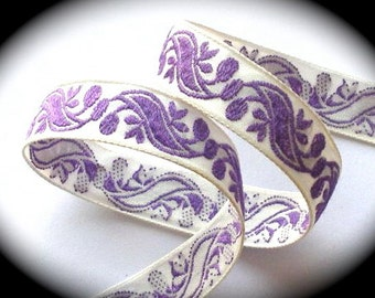 "Vintage Ribbon  Natural  and Purple Swirls2 - 5/8"" x 5 yds"