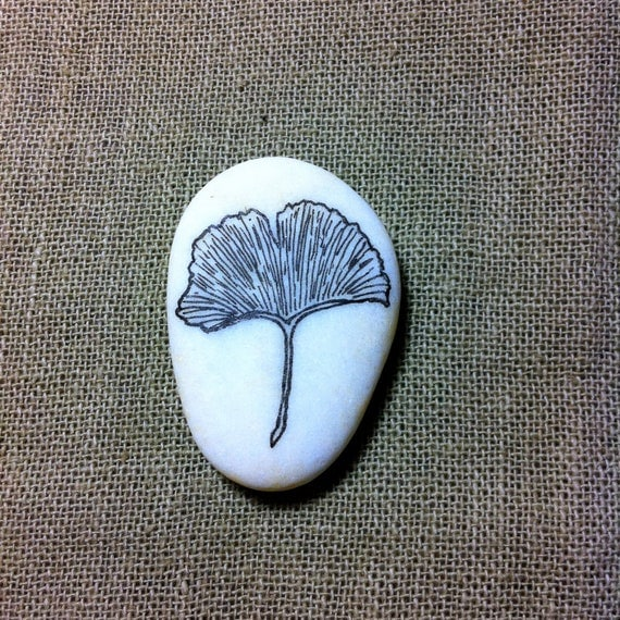 Custom Listing for Philippa-Ginkgo Leaf Painted White Pebble