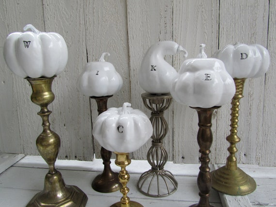 Halloween decoration wicked white pumpkins size large