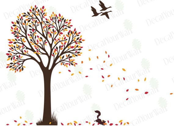 Tree wall decal nursery decals autumn fall tree with birds for Autumn tree mural