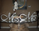 PRIVATE LISTING - Bling Mr & Mrs. Sign Wedding Reception Cake Table Crystal Rhinestone
