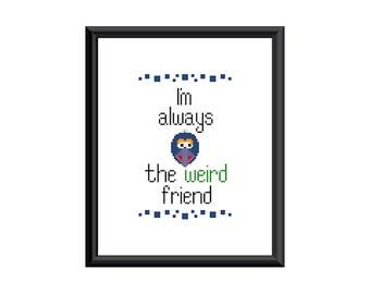 "8X10 PDF counted cross stitch pattern Gonzo ""Im always the weird friend"""