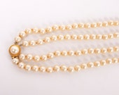 Vintage Trifari Pearls Necklace Double Strand Signed Crown Trifari Glass Pearls 1950s Jewelry