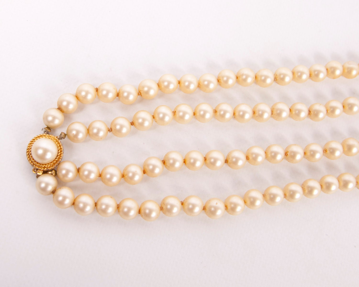 Vintage Trifari Pearls Necklace Double Strand Signed Crown