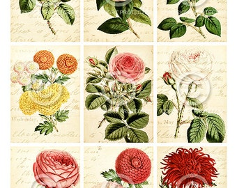 Vintage Blooms ATC backgrounds Collage Sheet Printable Digital File Download Instantly