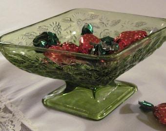 Green diamond-shaped candy dish