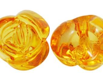 20 ct Acrylic Chunky Flower Transparent Beads 16mm - Orange (CBFL16-TFL1001)