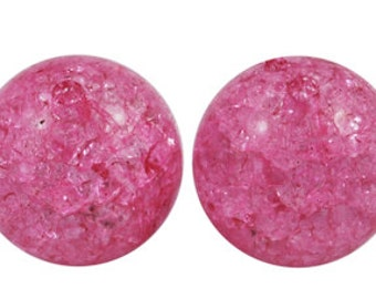 25ct Acrylic Chunky Beads Czech Glass 12mm Crackle Beads - Pink