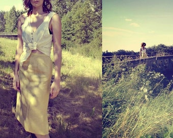 1950's Lemon Yellow Linen Pencil Skirt