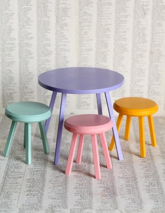 Retro Rainbow Tea Table and chair set - Jack and Jill custom Handmade Blythe 1/6 scale doll chair and table
