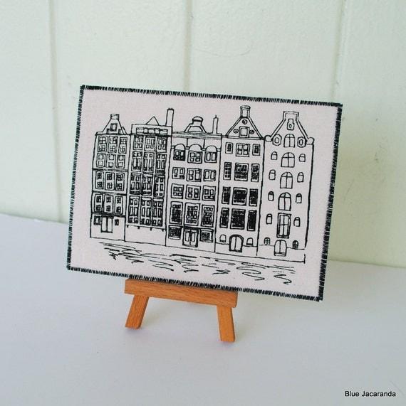 Dutch Houses Art Card -  Black Print