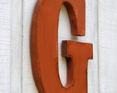 """Personalized Rustic Wooden Letters G Distressed Painted Terra Cotta,12"""" tall Wood Name Letters, Custom Wedding Gift"""