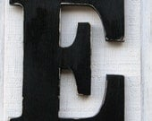 """Large Wooden Letters """"E"""" Distressed in Black 12"""" tall Wood Name Letters Cottage Wall decor Solid Wood"""