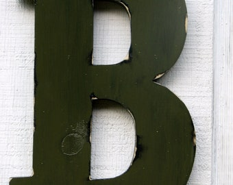 "Rustic Wooden letters home decor rustic Letter ""B"" Home Decor Distressed Olive Green,12"" Tall Wood Name Letters,"