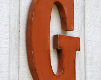 "Personalized Rustic Wooden Letters G Distressed Painted Terra Cotta,12"" tall Wood Name Letters, Custom Wedding Gift"