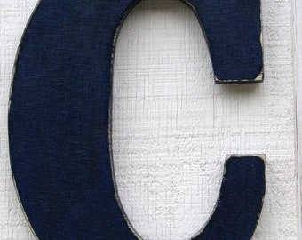 """Wooden Wall Letters """"C"""" Rustic distressed in cobalt blue nursery decor events parties photo prop any letter and color you want"""
