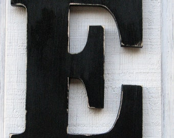 large wooden letters e distressed in black 12 tall wood name letters cottage wall decor solid wood