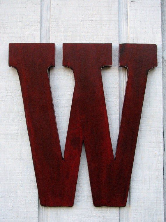 large 24 inch wood letter rustic wooden letters w distressed painted true red 24