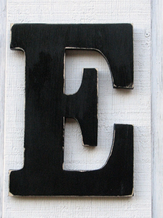 Large Wooden Letters E Distressed In Black