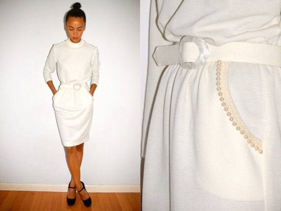 Vtg Pearl Collar Trim Off White Belted Wiggle Dress