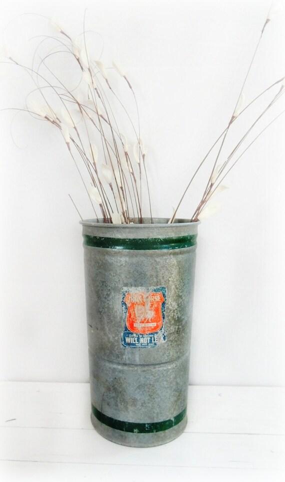 Vintage Galvanized Sap Bucket Home Decor Metal Syrup Pail Tall