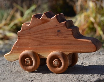 Stegosaurus, Redwood Push, Handmade, Heirloom Toy