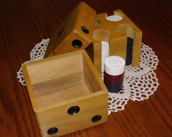 Vintage Rare HTF Antique 40's Wood Dice-Shaped Box with Poker Chips by Unique Products Great Patina