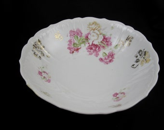 Porcelain Flower Bowl With Gilt Accents, Vintage