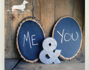 FREE SHIPPING! Rustic Ring. Tree Slice Wood Chalkboard -- (Vintage-Style, Farmhouse Chic, Wedding Decoration, Home Decor, Housewarming Gift)