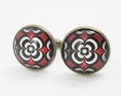 20mm retro vintage brass bronze red and black flower pattern round gemstone cabochon cufflinks,cuff links,custom cufflinks